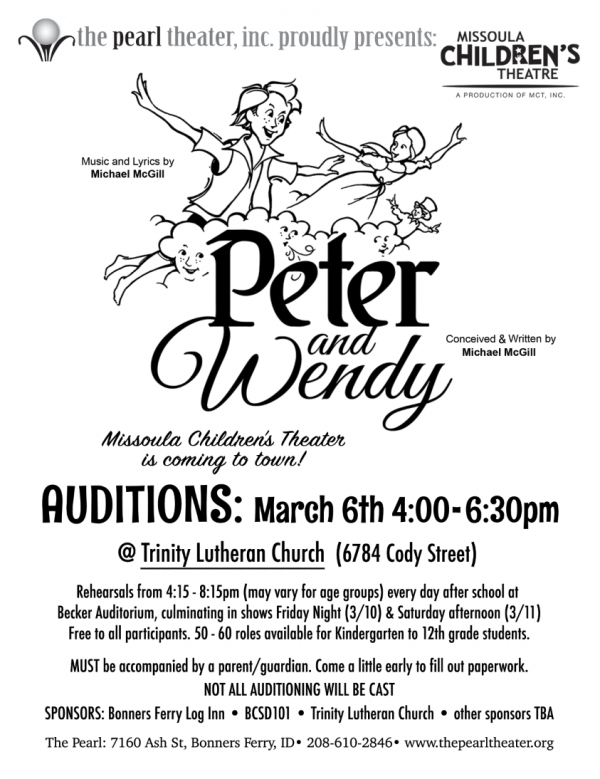 Missoula Children's Theater Peter and Wendy auditions at Becker Auditorium