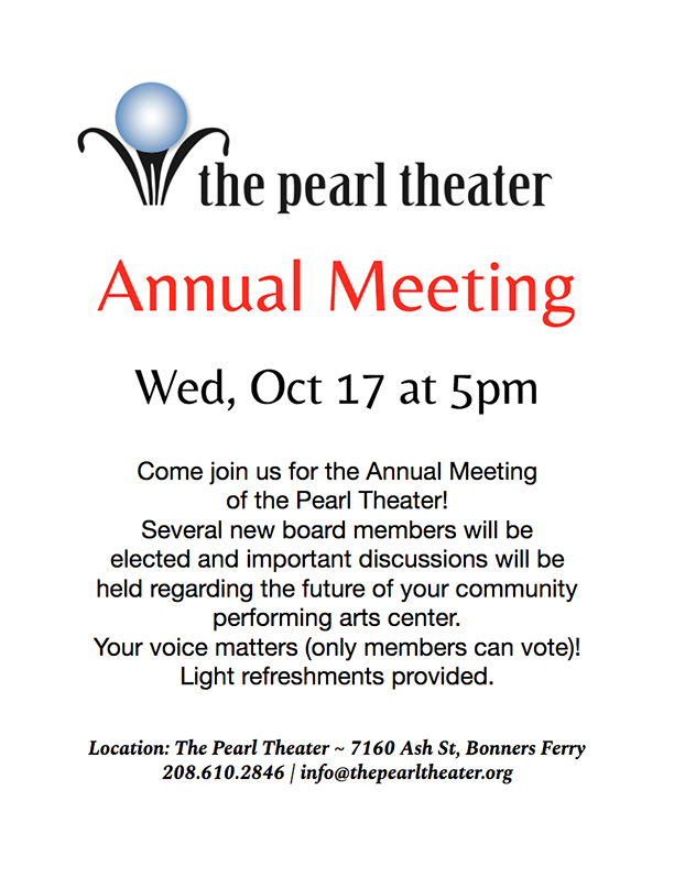 Oct 17 at 5pm: Pearl Theater Annual Meeting