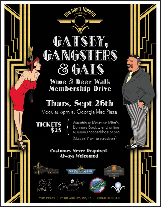 Gatsby, Gangsters and Gals! Wine walk sponsored by the Pearl Theater